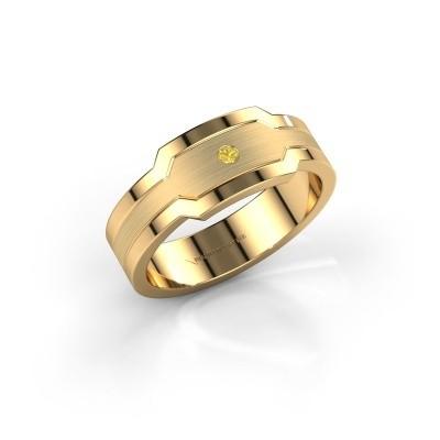 Foto van Heren ring Guido 585 goud gele saffier 2 mm