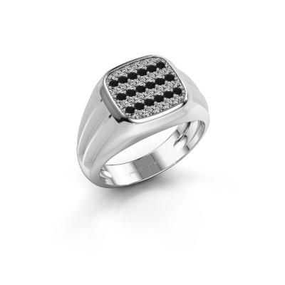 Foto van Pinkring Robbert 925 zilver zwarte diamant 0.610 crt