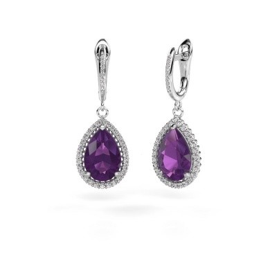 Picture of Drop earrings Hana 2 950 platinum amethyst 12x8 mm