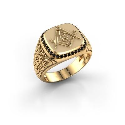Foto van Herenring Hugo 585 goud zwarte diamant 0.306 crt