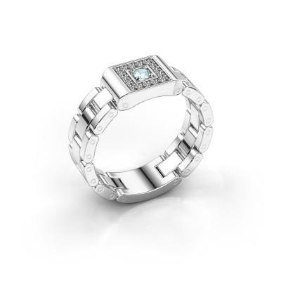 Foto van Rolex stijl ring Giel 950 platina aquamarijn 2.7 mm