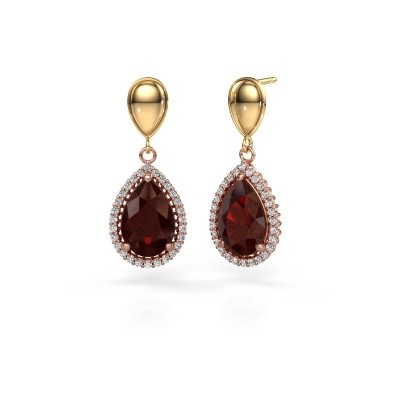 Picture of Drop earrings Cheree 1 585 rose gold garnet 12x8 mm