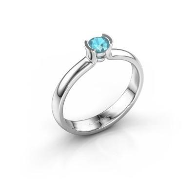 Foto van Verlovingsring Ophelia 585 witgoud blauw topaas 4 mm
