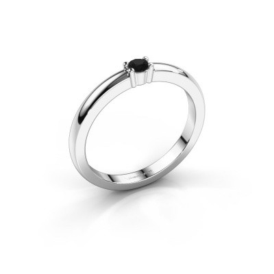 Foto van Promise ring Yasmin 1 585 witgoud zwarte diamant 0.096 crt