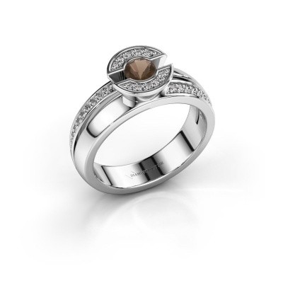 Foto van Ring Jeanet 2 585 witgoud rookkwarts 4 mm