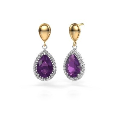 Picture of Drop earrings Cheree 1 585 white gold amethyst 12x8 mm