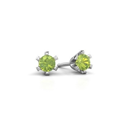 Picture of Stud earrings Shana 950 platinum peridot 4 mm