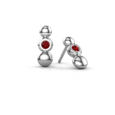 Picture of Earrings Lily 925 silver ruby 2.5 mm