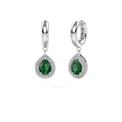 Picture of Drop earrings Barbar 1 925 silver emerald 8x6 mm