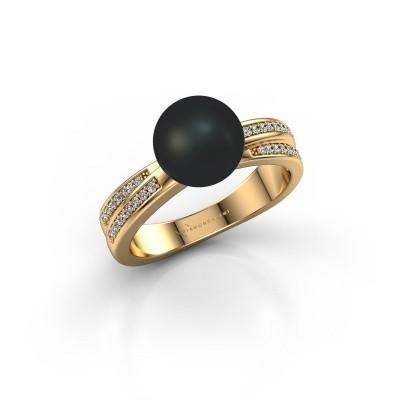 Foto van Ring Jolies 375 goud zwarte parel 8 mm