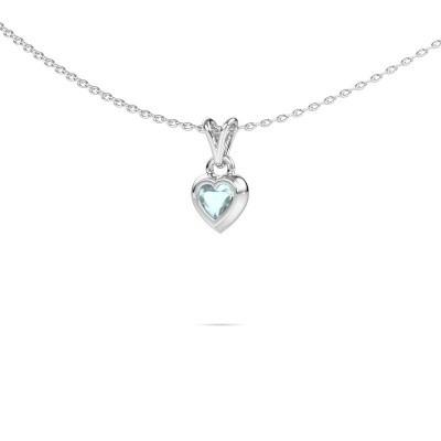 Foto van Hanger Charlotte Heart 925 zilver aquamarijn 4 mm