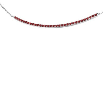 Picture of Bar necklace Simona 925 silver ruby 1.5 mm