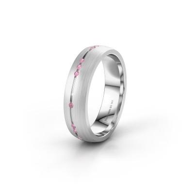 Trouwring WH0166L25A 585 witgoud roze saffier ±5x1.7 mm