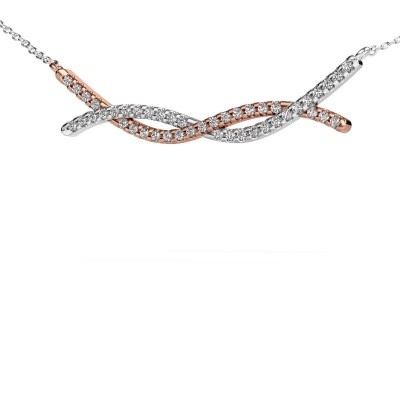Picture of Bar necklace Breanne 585 rose gold zirconia 1.2 mm