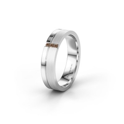 Trouwring WH0157L14XPM 375 witgoud bruine diamant ±4x1.4 mm