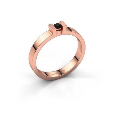 Foto van Verlovingsring Lieve 1 375 rosé goud zwarte diamant 0.12 crt
