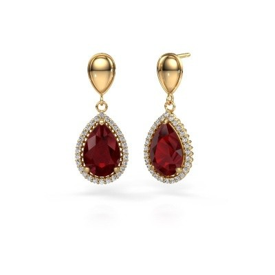 Picture of Drop earrings Cheree 1 585 gold ruby 12x8 mm