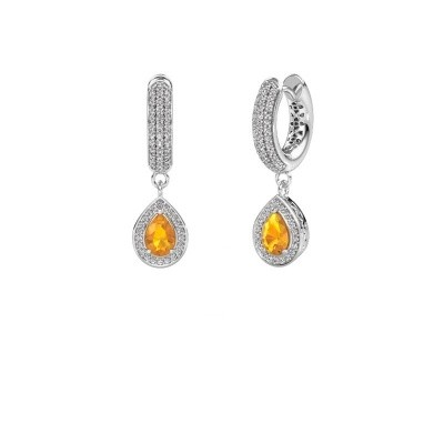 Picture of Drop earrings Barbar 2 375 white gold citrin 6x4 mm