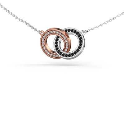 Picture of Necklace Circles 2 585 rose gold black diamond 0.275 crt