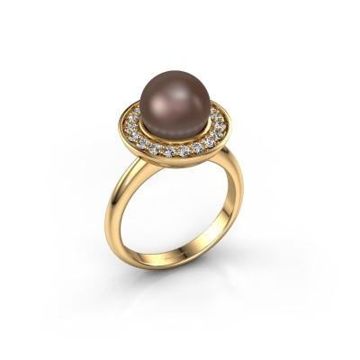 Foto van Ring Sarah 750 goud bruine parel 9 mm