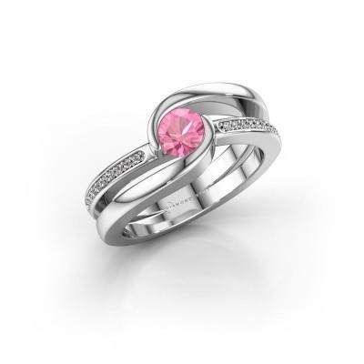 Foto van Ring Xenia 950 platina roze saffier 5 mm