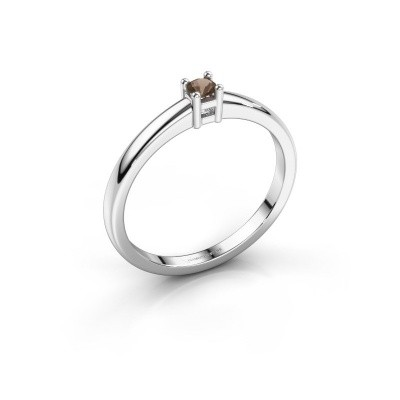 Foto van Promise ring Eline 1 950 platina rookkwarts 3 mm