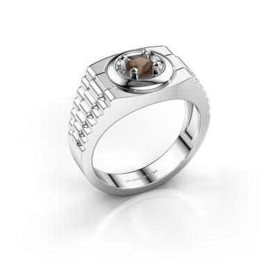 Foto van Rolex stijl ring Edward 585 witgoud rookkwarts 4.7 mm