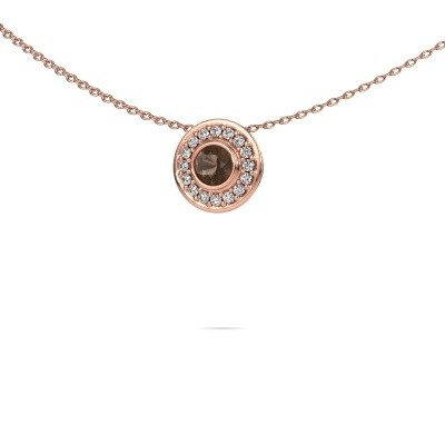 Picture of Necklace Gretta 375 rose gold smokey quartz 4 mm