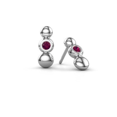 Picture of Earrings Lily 925 silver rhodolite 2.5 mm