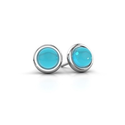 Picture of Stud earrings Jodi 925 silver blue topaz 6 mm