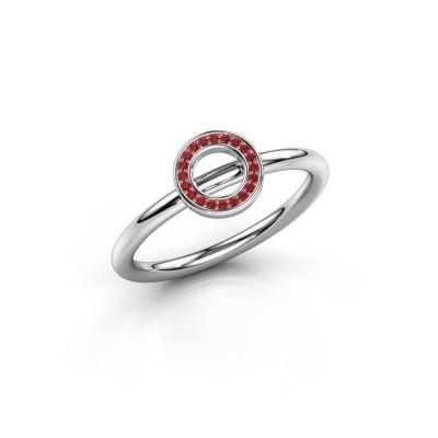 Foto van Ring Shape round small 925 zilver robijn 0.8 mm