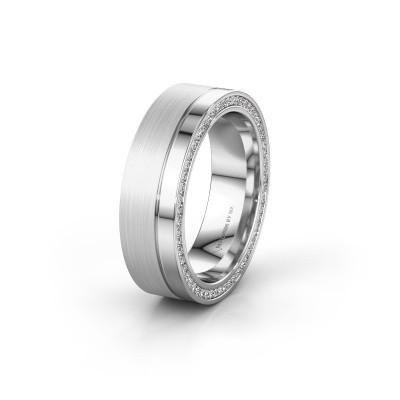 Trouwring WH0313L16B 585 witgoud diamant ±6x2 mm