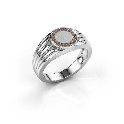 Foto van Pinkring Jacobus 925 zilver bruine diamant 0.135 crt