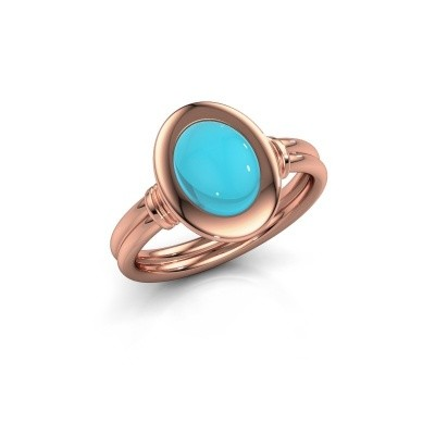 Foto van Ring Brittni 585 rosé goud blauw topaas 9x7 mm
