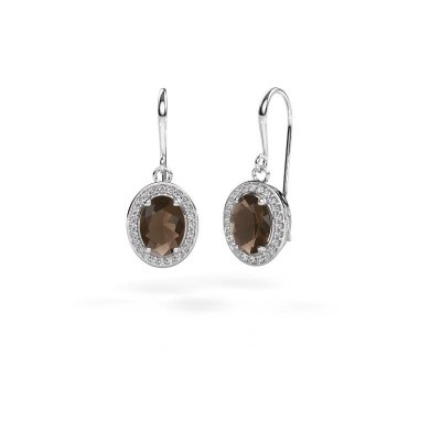 Picture of Drop earrings Latesha 375 white gold smokey quartz 8x6 mm