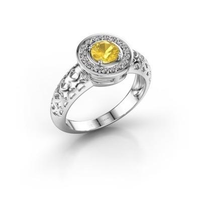 Foto van Ring Katalina 925 zilver gele saffier 5 mm