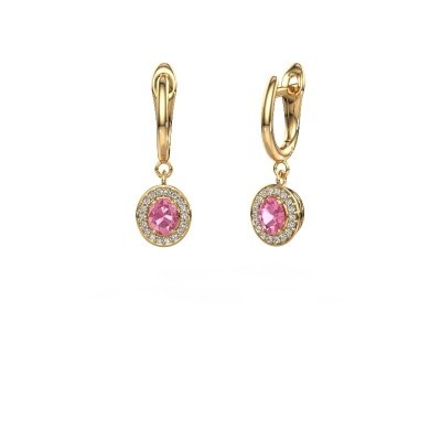 Picture of Drop earrings Nakita 750 gold pink sapphire 5x4 mm