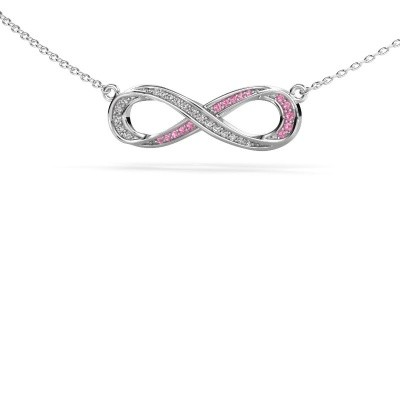 Picture of Necklace Infinity 2 925 silver pink sapphire 0.8 mm