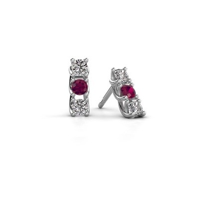 Picture of Earrings Fenna 925 silver rhodolite 3 mm