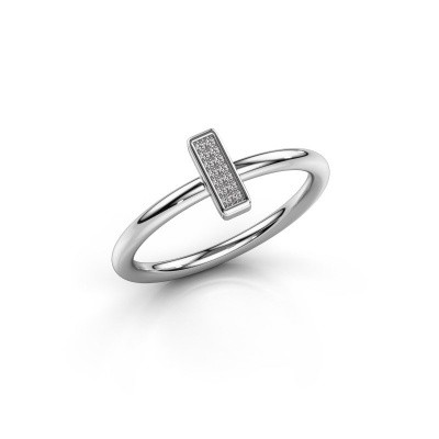 Ring Shape stripe small 585 witgoud diamant 0.035 crt