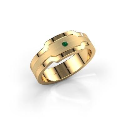 Foto van Heren ring Guido 585 goud smaragd 2 mm