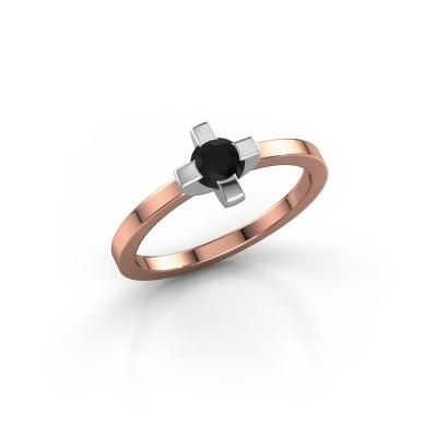 Foto van Ring Therese 585 rosé goud zwarte diamant 0.36 crt
