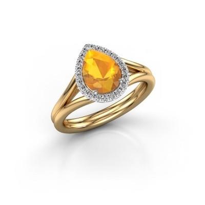 Foto van Verlovingsring Elenore 585 goud citrien 8x6 mm