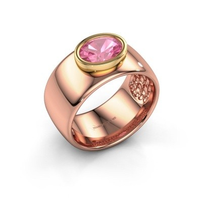 Foto van Ring Anouschka 585 rosé goud roze saffier 8x6 mm