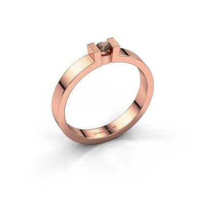 Foto van Verlovingsring Lieve 1 375 rosé goud rookkwarts 3 mm