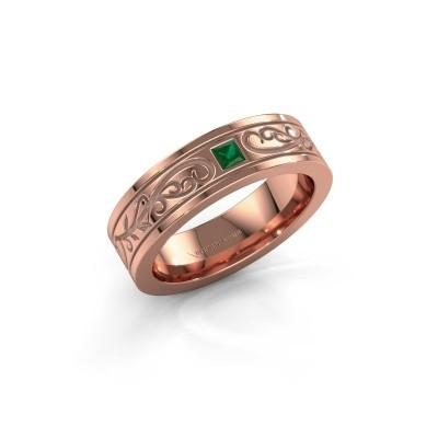 Foto van Heren ring Matijs 375 rosé goud smaragd 3 mm