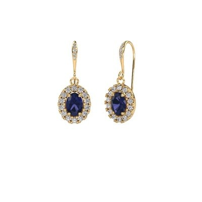 Picture of Drop earrings Jorinda 2 585 gold sapphire 7x5 mm