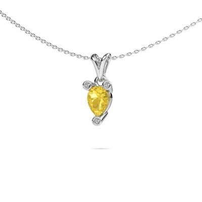 Picture of Necklace Cornelia Pear 950 platinum yellow sapphire 7x5 mm