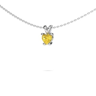Picture of Necklace Sam Heart 950 platinum yellow sapphire 5 mm