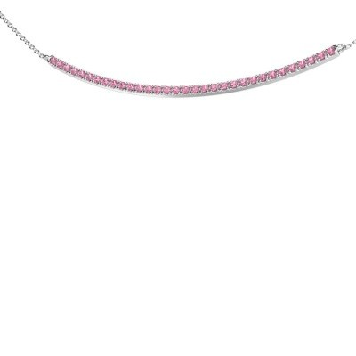 Picture of Bar necklace Simona 585 white gold pink sapphire 1.5 mm